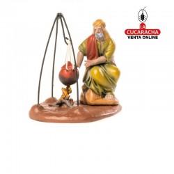 Figuras Belen Estilo Samaritano-VIEJO CALENTANDOSE- 7-9-12 cm.