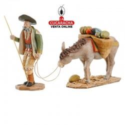 Figuras Belen Estilo Salzillo en barro Grupos-ARRIEROS CON BURRA 16-18 CM.