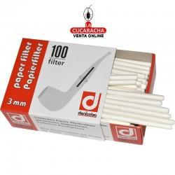 Cajita 100 filtros para pipa de 3mm de papel DENICOTEA.