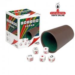 Cubilete de plástico con forro interior de fieltro, y 5 dados de póker Cayro.