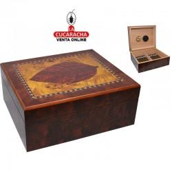 Caja humificadora interior cedro, capacidad 25 puros, color cerezo.