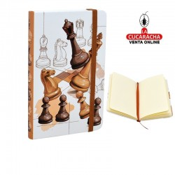 Pack de 3 agendas de tapa dura con diseño de ajedrez.