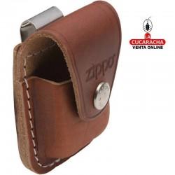 Funda en piel para encendedor Zippo, color marrón