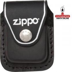 Funda Zippo Cuero Negro Trabilla