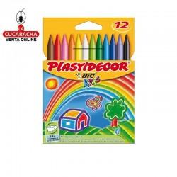 Lapices Cera PLASTIDECOR Caja 12 Colores.