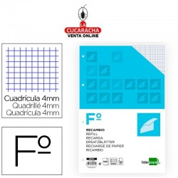 LIDERPAPEL-Pack 12-Recambio din A4 100 hojas 60g-m2cuadro 4mm con margen 4 taladros