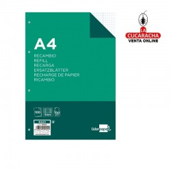 LIDERPAPEL-Pack 12-Recambio A4 100 hojas 100g-m2 cuadro 5mm con margen 4 taladros