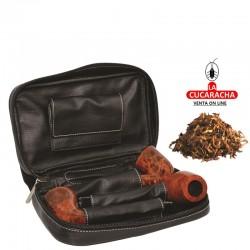 Bolsa para 3 pipas, tabaco y accesorios, piel, negro, bolsa picadura extraíble interior latéx