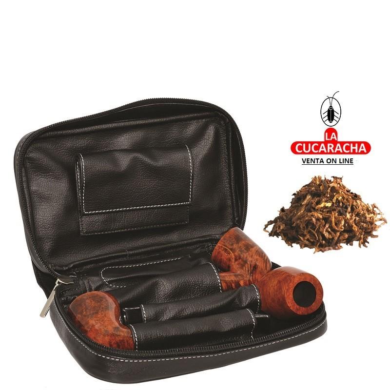 BOLSA NEGRA 3 PIPAS FUMAR TABACO Y ACCESORIOS***