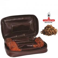 Bolsa para 3 pipas, tabaco y accesorios, piel, marrón, bolsa picadura extraíble interior latéx