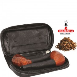 Bolsa 2 pipas, tabaco y accesorios, piel, negro, bolsa picadura extraíble interior latéx