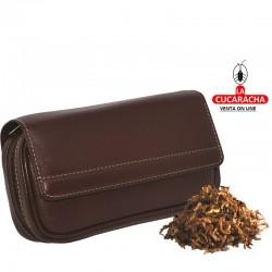 Bolsa 2 pipas, tabaco y accesorios, piel, marrón, bolsa picad. extraíble interior latéx
