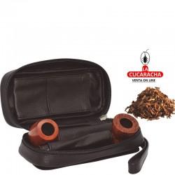 Bolsa para 2 pipas, tabaco y accesorios, hecha en piel, color negro