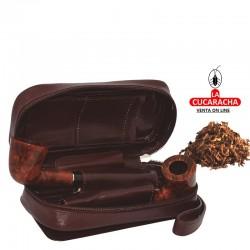 Bolsa para 2 pipas, tabaco y accesorios, hecha en piel, color marrón