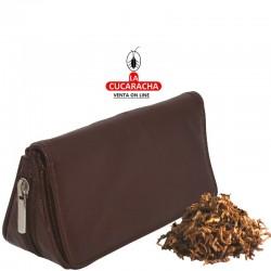 Bolsa para 2 pipas, tabaco y accesorios, piel, marrón, interior en latéx