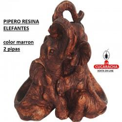 PIPERO RESINA ELEFANTES 2 PIPAS COLOR MARRON