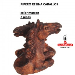 PIPERO RESINA CABALLOS 2 PIPAS COLOR MARRON