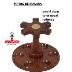 PIPERO MADERA REDONDO 6 PIPAS COLOR NOGAL